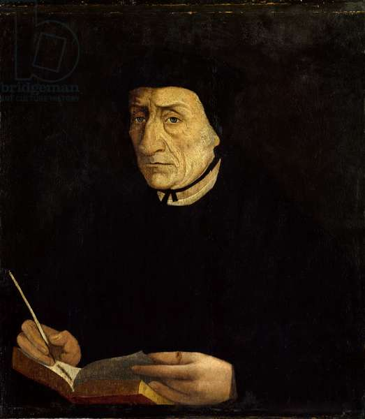Portrait of Guillaume Bude (Budee) (Budaeus) (1467-1540), French humanist. Painting by Jean Clouet (1485 - 1541) Ec. Fr. (h s/b 0.34 x 0.31). Versailles. Musee du Chateau.