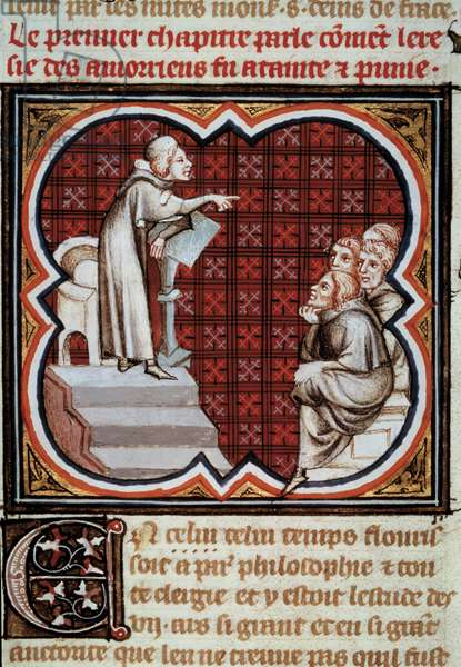 """The French philosopher and theologian Amaury de Chartres (or Amaury de Bene or Amalricus de Bene) (died 1209) in front of his disciples (the Amauricians). Miniature from Les Grandes Chronicles de France"""""""" enluminated by Jean Fouquet (1420-1481), 15th century. Paris, B.N."""