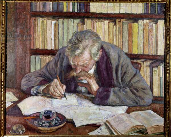 Portrait of the Belgian poet Emile Verhaeren (1885-1916) at his office Painting by Theodore Van Rysselberghe (1862-1926) 20th century Paris. Municipal Museum of Modern Art