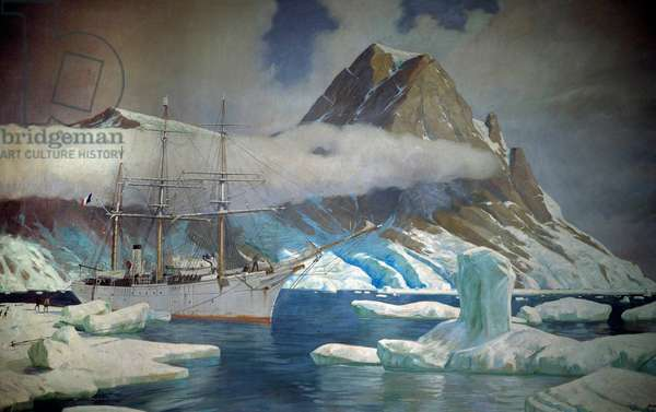 "The boat ""Why not IV"" (later baptized """" the Frenchman"") by Jean Baptiste Charcot (1867-1936), doctor, explorer of the polar zones, in the ice pack of Antarctica - Painting by Etienne Blandin (1903-1991) 1939 Saint Malo, museum of the city Attention! Use of this work may be subject to a third party authorization request or additional fees"