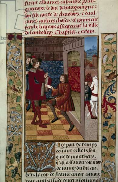 """Alliance of Louis XI (1423-1483) with the Liegeois against Charles the Temeraire Miniature from """"Chronicles d'Enguerrand de Monstrelet"""" 1465 Paris, B.N."""