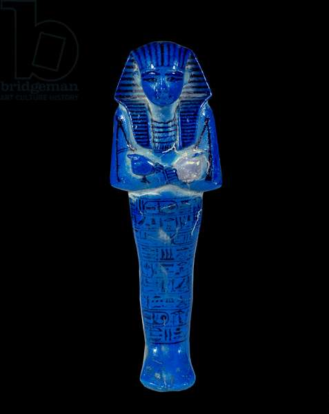 Ancient Egyptian Art: ouchebti by Sethi I. Sculpture in enamelled frit (19th Dynasty (ca. 1295-1186), New Empire). Paris, Musee Du Louvre