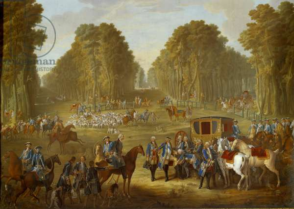 Plaque depicting the hunts of Louis XVI: the meeting at the crossroads of the well du Roi in the forest of Compiegne. Painting on soft porcelain by Nicolas Pierre Pithou l'Aine (active from 1757 to 1790) by Jean Baptiste Oudry (1686-1755) 1781 Sun. 0,39x0,49 m