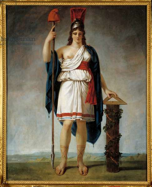 The French Republic year II. Allegory of the republic: at the end of the spear the Phrygian cap (symbols of the French revolution). Painting attributed to Antoine Jean Gros (1771-1835), 19th century. Oil on canvas. Dim: 0.73 x 0.61m. .