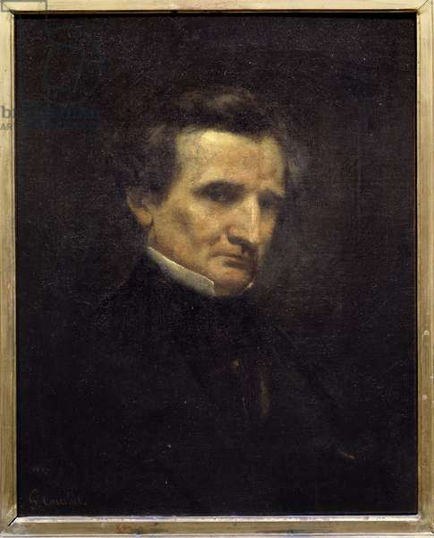 Portrait of Hector Berlioz (1803-1869), French composer. Painting by Gustave Courbet (1819-1877), 1850. Oil on canvas. Dim: 0.61 x 0.48m. Paris, Musee d'Orsay