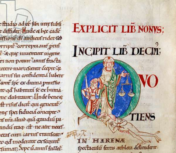 """Last judgment christ welcoming job letter """""""" Q"""""""""""" (lettrine). Miniature from the manuscript """""""" Moralia in Job"""""""", from citeaux abbey, 1111. Dijon, Municipal Library"""