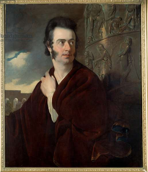 Presume portrait of Lord Byron (1788 - 1824) British poet. Painting by Thomas Phillips (1770-1845) Ec. Ang., 1815. Meaux, Musee Bossuet - Presumed portrait of Lord Byron (1788-1824), British poet. Painting by Thomas Phillips (1770-1845), English School, 1815. Bossuet Museum, Meaux, France