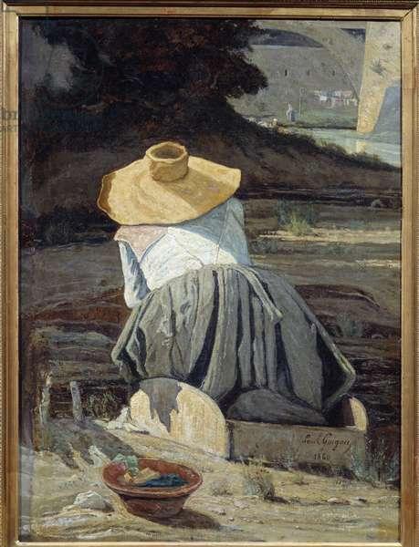 Lavandiere. Painting by Paul Camille Guigou (1834-1871), 1860. Oil on canvas. Dim: 0.81 x 0.59m. Paris, Musee d'Orsay