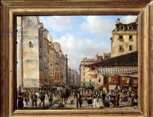 Les Halles and rue de la Tonnellerie in 1828: view of Paris in the 19th century. Painting by Giuseppe Canella (1788-1847), 1828. Oil on cardboard. Dim: 0.15 x 0.18m. Paris, Musee Carnavalet