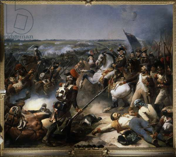 The Battle of Fleurus on June 26, 1794: Battle won by General Jean-Baptiste (Jean Baptiste) Jourdan (1762-1833) over the Austrian army, Painting by Jean Baptiste Mauzaisse (1784 - 1844), 1837, Oil on canvas, 4.65 x 5.43m.  - The Battle of Fleurus, 26 June 1794: Battle won by the general Jean-Baptiste (Jean Baptiste) Jourdan (1762-1833) on the Austrian army, Painting by Jean Baptiste Mauzaisse (1784-1844), 1837, Oil on canvas. 4,65 x 5,43 m, Versailles, chateaux of Versailles and Trianon