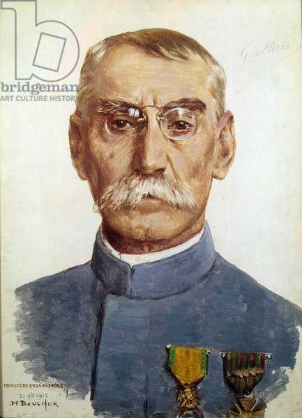 "First World War (1914-1918): """" Portrait of Marechal Joseph Simon Gallieni (1849-1916)"""" Painting by Joseph Felix Bouchor (1853-1937) 1915 Sun. 0,33 x 0,24 m"