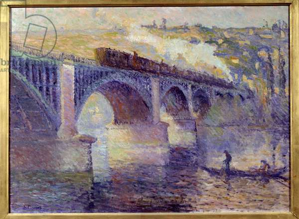 Le pont aux Anglais, sun setting Painting by Robert Pinchon (1886-1943) 20th century Sun. 0,52x0,73 m Rouen, Musee des Beaux Arts