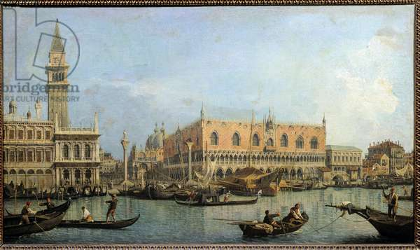 Le Mole, view from the basin of Saint Mark to Venice Painting by Antonio Canal dit Canaletto (1697-1768) 18th century Sun. 0,47x0,81 m  - The Molo from the basin of San Marco, Venice. Painting by Antonio Canal called Canaletto (1697-1768), 18th century. 0.47 x 0.81 m. Louvre Museum, Paris