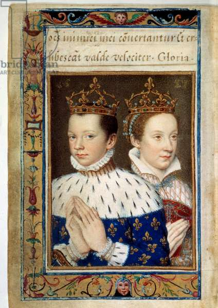 """Portrait of Francois II (1544-1560) and Marie Stuart (1542-1587) King and Queen of France Manuscript page of the """"Book of Hours by Catherine de Medicis"""" (Caterina de Medici) 16th century Paris, B.N."""