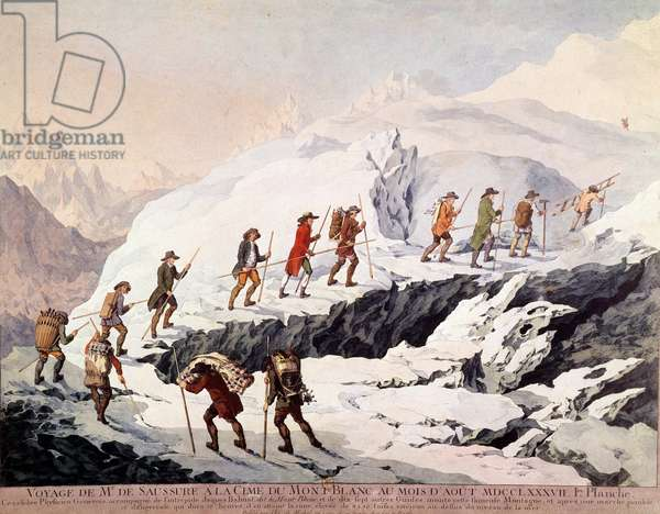 The Swiss naturalist Horace Benedict (Horace-Benedict) of Saussure (1740-1799) and the French mountain guide Jacques Balmat made the second ascent of Mont Blanc in August 1787.