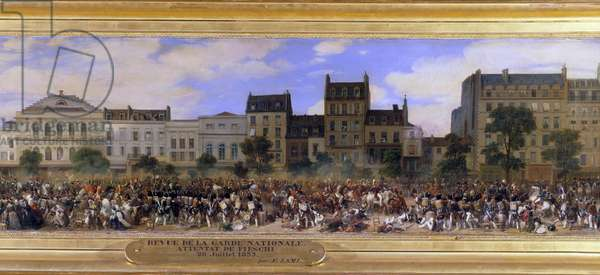 The Attack of Giuseppe Fieschi (Corsican conspirator) on 28/07/1835 against Louis-Philippe I (1773-1850), King of the French, Boulevard du Temple in Paris (Louis Philippe reviews the National Guard) Detail of a painting by Eugene Lami (1800-1890) 1845 Sun. 0,5x2,7 m.