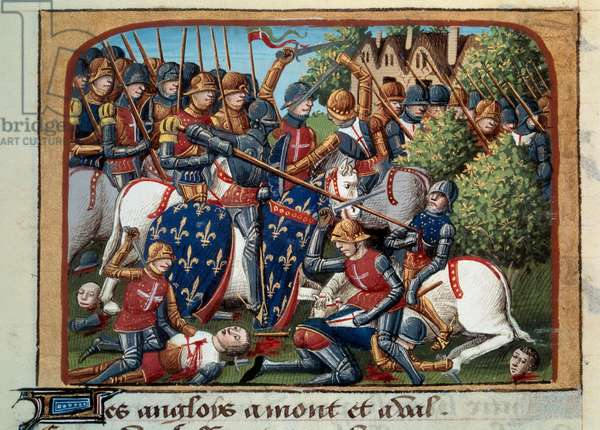 """Hundred Years' War: the battle of Formigny (Calvados) on 15/04/1450 between the English army of Thomas Kyriell and Jean de Clermont. Miniature illuminated from the manuscript """""""" Vigiles du roi Charles VII"""""""" in the chronicles of Jean Chartier, edited by Martial d'Auvergne (1430-1508), 1477-1483 Paris, B.N."""