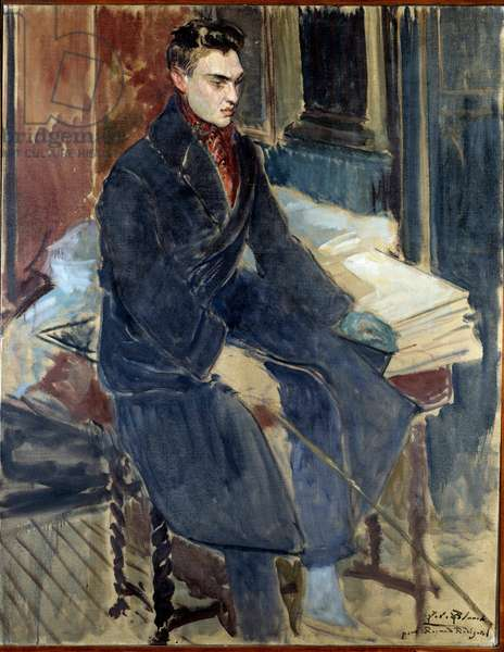 Study for the portrait of Raymond Radiguet (French writer, 1903 - 1923). Painting by Jacques Emile (Jacques-Emile) Blanche (1861-1942), 1923. Oil on canvas, 1.43 x 1.12m. Rouen, Musee des Beaux Arts.
