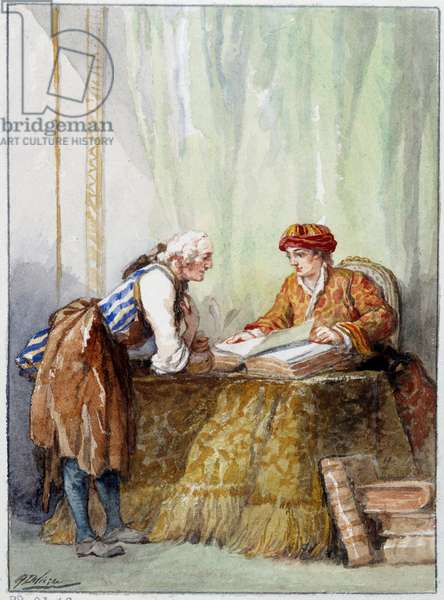 """Illustration of the fable """""""" Le savetier et le financier"""""""" by Jean de La Fontaine. Watercolour by Auguste Delierre (1829-c.1890), 19th century. Chateau Thierry, Musee La Fontaine"""