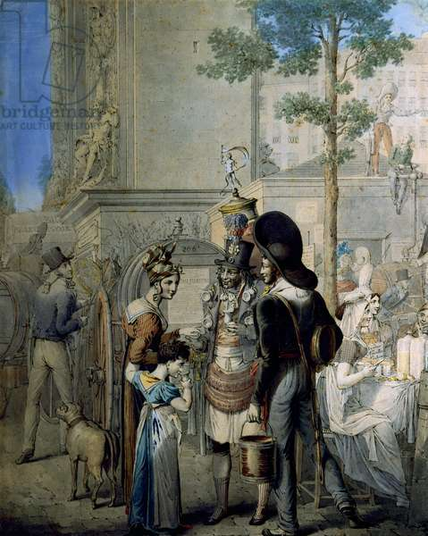 Coconut trader Porte Saint Denis in Paris. Old merchant shop selling coconut cups in the streets of Paris. Drawing by German George Emanuel Opitz (1775-1841), Paris. Carnavalet Museum
