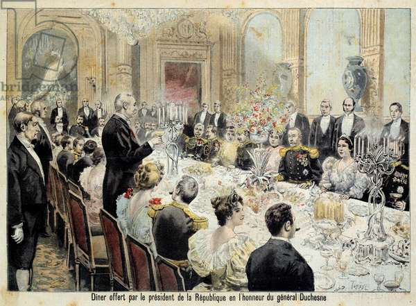 French President Felix Faure (1841-1899) delivered a speech at the dinner in honour of General Duchesne. Engraving, 1896. Coll. Go.