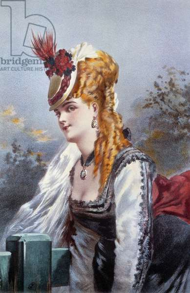 The Coquette Lithography by Philippe Jacques Linder (1835-?) 19th century Private Collection