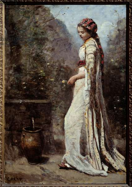 Greek girl has the fountain. Painting by Camille Corot (1796-1875), 19th century. Oil on canvas. Dim: 0,55 x 0,39m.