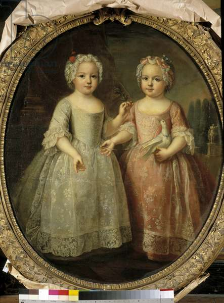 Portraits of Louise Elisabeth of France (1727-1759) and Henriette of France (1727 - 1752) daughters of Louis XV. Painting by Pierre Gobert (1662 - 1744), 18th century. Oil on canvas. Dim: 1,08 x 0,88m.