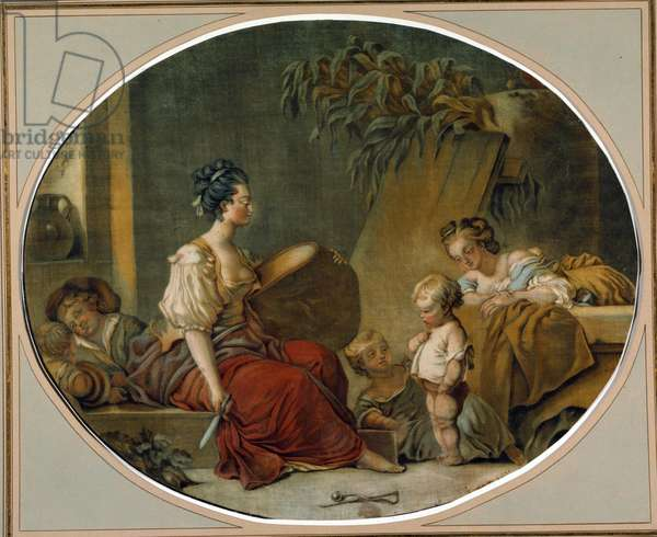 """Education: """""""" On ask please"""""""" A mother teaches her child the right ways. print by Gautier Dagoty (18th century) Private collection"""