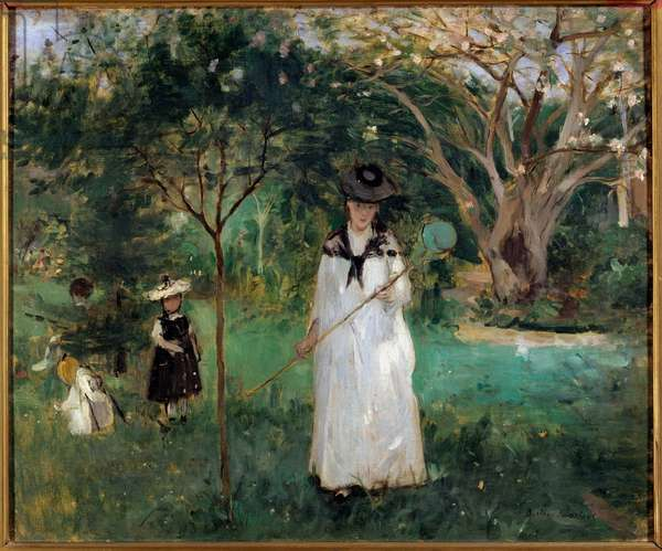 Butterfly Hunting A young woman holding a butterfly net. Painting by Berthe Morisot (1841-1895) 1874 Sun. 0,46x0,56 m Paris, musee d'Orsay