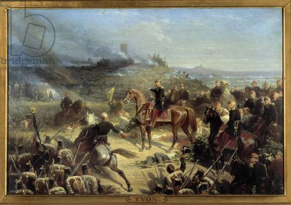 """Campaign of Italy: """""""" Battle of Solferino, June 24, 1859"""""""" It saw the victory of the Franco-Sardinian army of Napoleon III (representing at the centre a horse) against the Austrians. Painting by Adolphe Yvon (1817-1893) 1860 Sun. 6x9 m."""