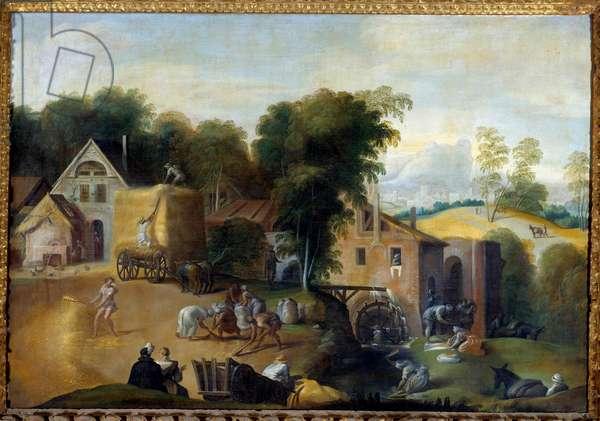 Le vannage du grain Painting by Nicolo dell'Abate (1509-1571) 16th century Sun. 0,98x1,41 m