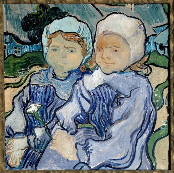 Portrait of Two Girls Painting by Vincent Van Gogh (1853-1890) 1890 Sun. 0,51x0,51 m Paris, musee d'Orsay - Portrait of two young girls. Painting by Vincent Van Gogh (1853-1890), 1890. 0.51 x 0.51 m. Orsay Museum, Paris