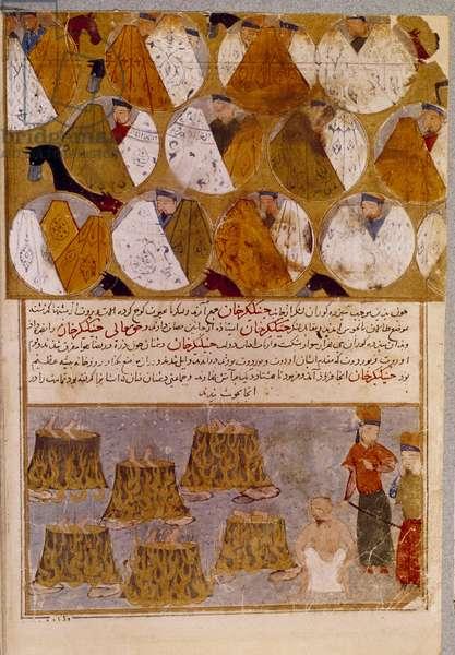 "Mongolian tents and prisoners of Genghis Khan (1162-1227): Genghis Khan has the followers of Djamuqua, a Mongol of the Jadjirat tribe thrown into the cauldrons. Persian miniature taken from """" Jami al-tawarikh"""" (Jami al tawarikh) or """" Universal History"""" by the historian Rashid al-din (al din) (1247-1318) Around 1430 Paris, B.N."