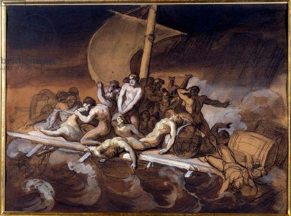 Le raft de la Meduse Etude preparatoire au wash et gouache sur papier by Theodore Gericault (1791-1824). 1819 Dim. 0.28 X 0.38 m. Paris, Louvre Museum