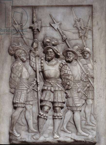 Soldiers Detail of the bas reliefs of the tomb of Francois I (1494 - 1547) realized by Pierre Bontemps (1505/1510-1568/1570), 16th century. Saint Denis, Basilica