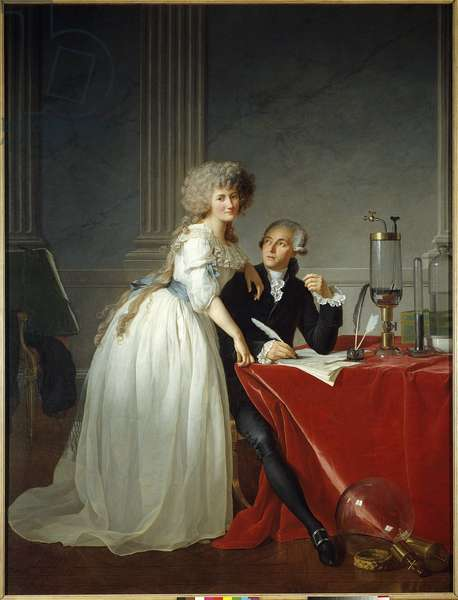 Antoine Laurent Lavoisier (1743-1794) with Madame Lavoisier - Painting by Jacques Louis David (1748-1825), 1788, (h s/t 2,59 X 1,94) - The Metropolitan Museum of Art, New York - Portrait of the french chemist Antoine Laurent de Lavoisier (1743-1794) with his wife (Marie Anne Pierrette Paulze, 1758-1836) - Painting by Jacques Louis David (1748-1825), oil on canvas (259 x 194 cm), 1788 - The Metropolitan Museum of Art, New York, USA