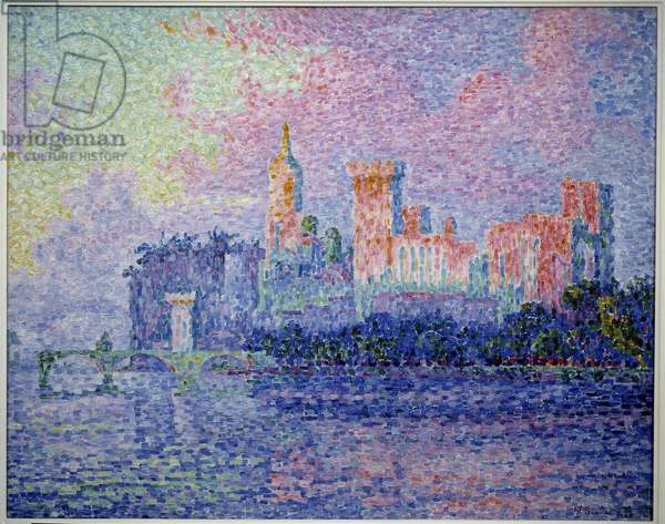 The castle of the popes in Avignon. Painting by Paul Signac (1863-1935), 1900. Oil on canvas. Dim: 0.73 x 0.92m. Paris, Musee d'Orsay