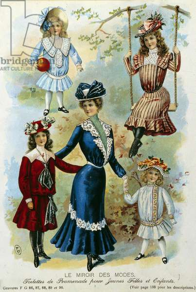 """Walk toilet for girls and children Plate illustrated with """"The Fashion Mirror"""""""" 20th century. Paris, decorative arts"""