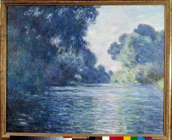 Arm de Seine near Giverny. Painting by Claude Monet (1840-1926), 1897. Oil on canvas. Dim: 0.75 x 0.92m. Paris, Musee D'Orsay - Arm of the Seine near Giverny. Painting by Claude Monet (1840-1926), 1897. Oil on canvas. 0.75 x 0.92 m. Orsay Museum, Paris