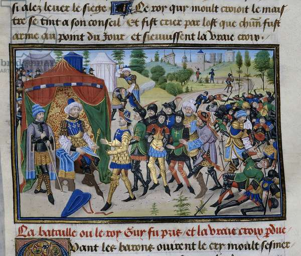 """Third Crusade: the loss of the True Cross during the Battle of Hattin on 4th July 1187, Miniature from """""""" Chronicle abregee"""""""" by David Aubert, ca 1450"""