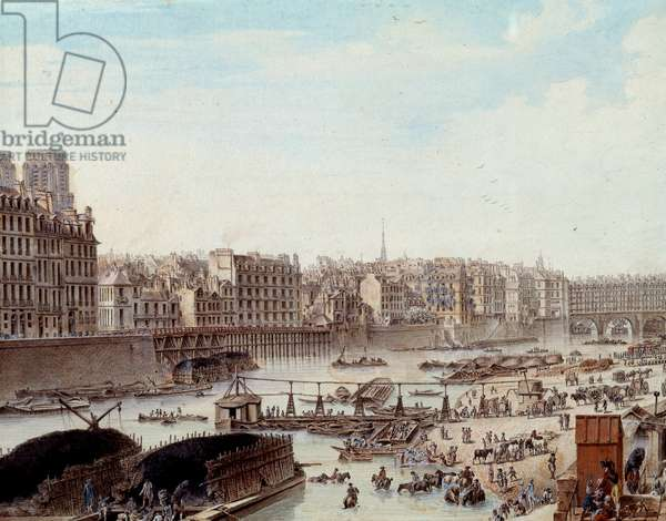 Maritime life on the docks of the Port in Paris in 1782 Peniches and commercial activities on the Seine. Detail. Drawing by Louis de Lespinasse (1734-1808) 1782. Paris, Musee Carnavalet