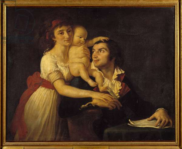 Portrait of Camille Desmoulins (1760-1794) his wife Lucile (1771-1794) and their son Horace Camille (1792-1825) Painting by Jacques Louis David (1748-1825) 18th century Sun. 1x1,23 m. Versailles, Chateau Museum