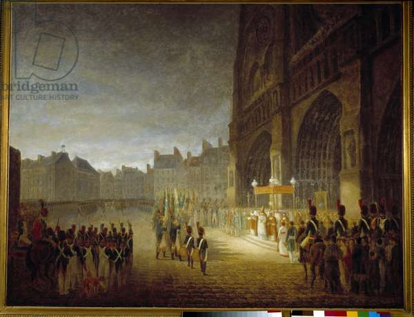 The Benediction of the Flags on the Square of the Cathedrale Notre Dame de Paris in 1804 Painting attributed to Antoine Jean Gros (1771-1835) 19th century Sun. 1,1x1,46 m Paris, Musee Carnavalet
