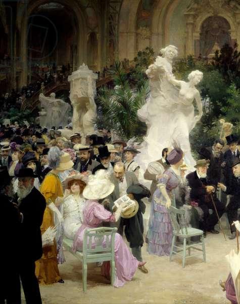 "Belle epoque: """" A friday of the Salon des artistes francais"""""" Mondanites during the art exhibition at the Grand Palais in Paris. Detail. Painting by Jules Alexandre Grun (1868-1934) 1911 Rouen. Museum of Fine Arts"