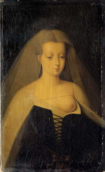 Portrait of Agnes Sorel (1422-1450) (Lady of Beaute sur Marne) (Beaute-sur-Marne), favorite of King Charles VII (1422-1461) Her breast is denude. Painting by Philippe Comairas (1803-1875) after Francois Clouet. 1833 Sun. 0,3x0,19 m Versailles, musee du chateau.