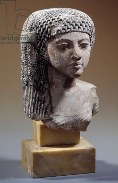 """Egyptian antiquite: """""""" Amarnian princess torso"""""""""""" limestone bust of the late 18th dynasty. Paris, Louvre Museum"""