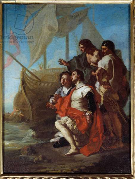 The arrival of the explorer Christopher Columbus (1451-1506) in America Painting by Francesco Solimena dit l'abbate (abbe) Ciccio (1657-1747) 1715 Sun. 0,62x0,49 m Rennes, Musee des Beaux Arts