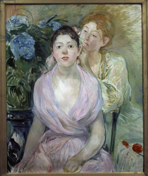 Hydrangea or both sisters. Painting by Berthe Morisot (1841-1895), 1894. Oil on canvas. Dim: 0.73 x 0.60m. Paris, Musee d'Orsay