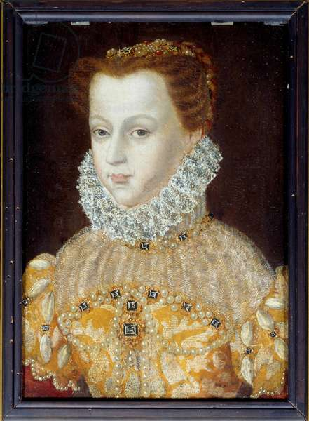 Portrait of Marie Stuart (1542-1587) Queen of France and Scotland Anonymous painting of the 16th century. Museum of Conde Chantilly